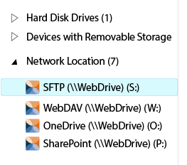 Image of Mapped Drives in Windows Explorer for SFTP, WebDAV, SharePoint and OneDrive