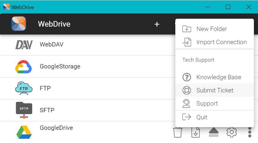 Submit a support ticket to the tech team from within the WebDrive console.